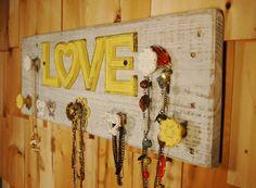 Sunshine Yellow LOVE Jewelry and Scarf Board by SplintersAndNails, $48.50
