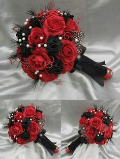 Red, black, and white biker vow renewal bouquet idea