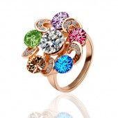 Swarovski Golden Stein Kreis Blume ring