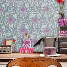 Peacock Dream: Reusable Wall Stencil for DIY decor - decorative stencil, feathers, stencil, stencils