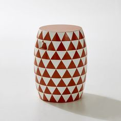 Image Round Cement Fibre Garden Stool with a Triangle Motif La Redoute Interieurs