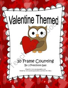 Valentine Themed 10 Frame Counting Mats product from 2-Preschool-Gals on TeachersNotebook.com