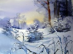 """Winter Scenes"" - by Anders Andersson & Aud Rye ~ Watercolor Art Aquarelle, Watercolor Trees, Watercolor Artists, Watercolor Landscape, Watercolor And Ink, Watercolor Paintings, Landscape Paintings, Watercolors, Landscapes"