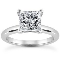 main view of Classic Tiffany Style Square Solitaire Engagement Ring