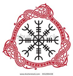 Aegishjalmur meaning Helm of awe or helm of terror , Icelandic magical staves with scandinavian runes and dragons, isolated on white, vector illustration
