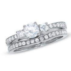 1.05 CT. T.W. Diamond Three Stone Contour Bridal Set in 14K White Gold