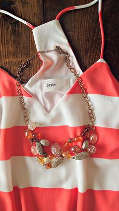 Summer Striped White & Coral Dress