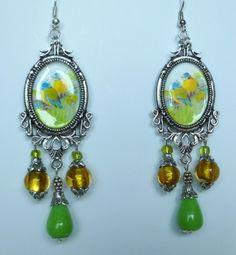 """Boucles d'oreille,style rétro """"Plumages"""" métal argenté vieilli,pierre naturelle,perles de verre : Boucles d'oreille par bleusoupir"""