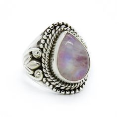 Image of Sterling Silver & Pink Rainbow Moonstone Ivy Ring