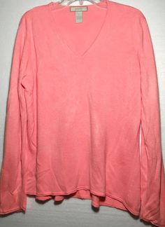 01b0ea94a Palette Long Sleeve Deep Salmon Women s Sweater - Soft Acrylic V-Neck -  Size XL