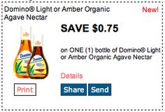 Save $.75 on Domino Light or Amber Organic Agave Nectar. Click for more great deals! #Coupons #Deals #Pancakes #Agave