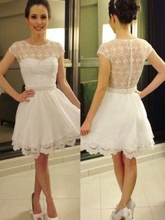 New Style Short Homecoming Dresses, Lace Cocktail Dresss, Chiffon with Pearl Detailing Ivory Graduation Dress, Short Sleeve Prom Dresses