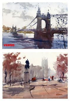 Keith Hornblower Watercolours Hammersmith Bridge and Whitehall, London, painted on both sides of the same sheet 16.5x11.5 inches. Demo sketches.
