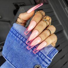 French Tip Acrylic Nails, Bling Acrylic Nails, Best Acrylic Nails, Glue On Nails, French Nails, Pink Acrylics, Pink Tip Nails, Gel Nails, Pink Stiletto Nails