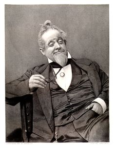 American actor/playwright William J. Florence posing with a mischievous grin and an instantly eye-catching hairdo during the late Victorian era. 1800s