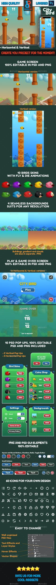 City Bird Game Asset by Master_Key | GraphicRiver Game Over Screen, Game Gui, Flappy Bird, Master Key, Coin Shop, Game Assets, In This Moment, Cool Stuff, Games
