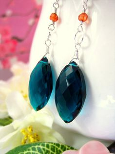 Silver peacock teal blue quartz marquis earrings by KBlossoms, $38.00