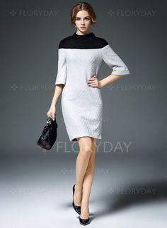 Kleider - $82.97 - Baumwolle Farbquadrat Halbe Sleeve Über dem Knie Elegant Kleider (1955094505)