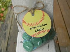 SOFTBALL goodie bags with tags set of 10 softball by PagesbyNat