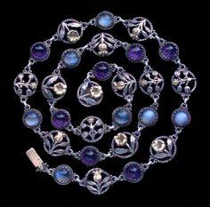 Arts & Crafts Floral Necklace, Designed by Edward Spencer (c. 1905) - Artificers' Guild 1901-1942