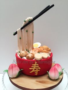 My traditional longevity theme birthday cake from last week- a gravity defying longevity noodle bowl cake. Longevity noodles are traditionally eaten in birthday celebration dinner. Since noodles are long and continuous in shape, it symbolizes. Unique Cakes, Creative Cakes, Chinese Cake, Japanese Cake, Gravity Defying Cake, Anti Gravity Cakes, Realistic Cakes, Fondant Cakes, Birthday Cakes
