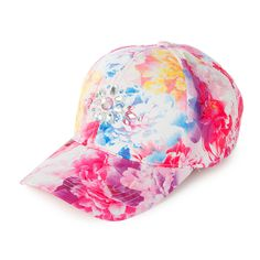 Floral Baseball Cap with Crystal Gems | Claire's