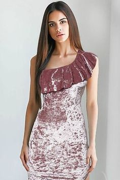 New Pink Velvet Party Dress Size 12 One Shoulder Bodycon New