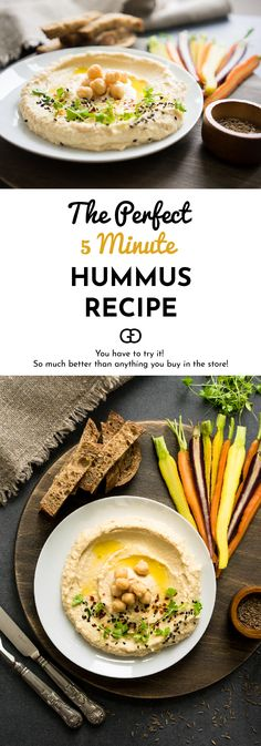 So much better than anything you buy in the store! This is the perfect homemade hummus recipe! Quick and delicious! Perfect Hummus Recipe, Easy Hummus Recipe, Homemade Hummus, Tapas Recipes, Vegetarian Recipes, Dinner Recipes, Healthy Recipes, Dip Recipes, Easy Recipes