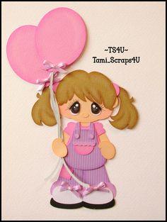 Girl with Balloons Scrapbook Images, Scrapbook Borders, Scrapbook Embellishments, Scrapbook Cards, Paper Punch Art, Paper Art, Paper Crafts, Its A Girl Balloons, Paper Dolls Book