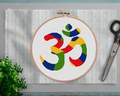 This item is unavailable Cross Stitch Sea, Simple Cross Stitch, Cross Stitch Charts, Embroidery Patterns, Hand Embroidery, Buddhism Symbols, Easy Cross Stitch Patterns, Pilates, Om