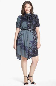 Jessica Simpson Tie Collar Print High/Low Shirtdress (Plus Size) | Nordstrom
