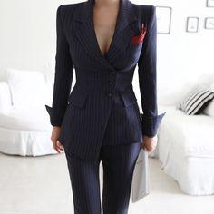 Women Irregular Striped Pant Suits Single Breasted Blazer Jacket and S - sheheon.Women Irregular Striped Pant Suits Single Breasted Blazer Jacket and S - sheheonline Blazer Outfits, Blazer Fashion, Suit Fashion, Look Fashion, Fashion Outfits, Woman Outfits, Dress Outfits, Womens Fashion, Fashion Black