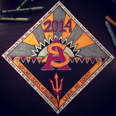 Arizona State University Grad Cap.   ASU. 2014. Sun Devils. Fork 'em. Decorated Grad Cap  By Molly McLachlan