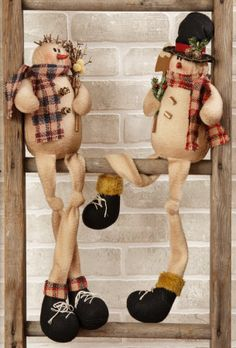 Plaid Partners - Snowmen, Shelf Sitters