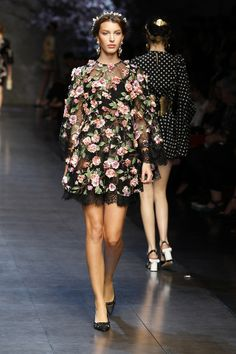 Another fave - beautiful floral net frock.  D&G does romantic, beautiful and over the top classic Italian style so well.  Just looking at their clothing makes me feel like i'm back in Italy.  I think great fashion transports you to other worlds. Dolce & Gabbana Woman Catwalk Photo Gallery – Fashion Show Summer 2014