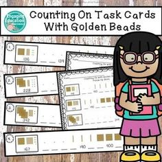 Counting On Task Cards With Golden Beads 2nd Grade Centers, Math Centers, Montessori Elementary, Elementary Teacher, Montessori Preschool, Math Resources, Math Activities, French Language Learning, Learning Spanish