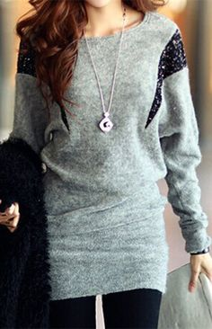 Stylish Scoop Neck Sequins Embellished Batwing Sleeve Women's Dress