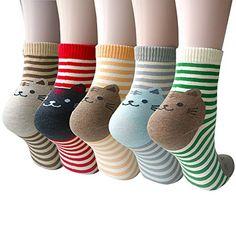 Pack of 5 Women Girls Fun Cats Cartoon Sweet Animal Pattern Cotton Crew Floor Socks, Style 1 One Size Sock Animals, Cute Animals, Panda Mignon, Girls Socks, Ladies Socks, Women Socks, Funny Socks, Striped Socks, Cotton Socks