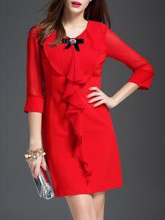Red Plain 3/4 Sleeve Mini Dress