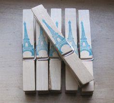 french market style eiffel tower wood pins in aqua by OkioBDesigns, $4.00--fun!