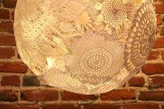 Make a lamp using doilies