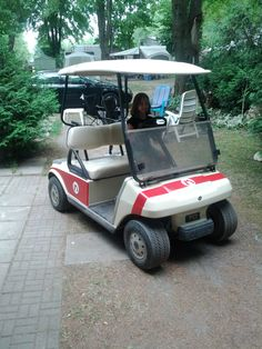 One Golf cart, two cans of spray paint and a roll of painters tape = Mario Kart