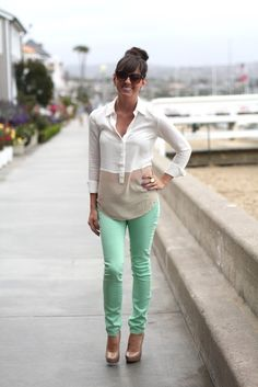 Gray white green skinnies women fashion outfit clothing