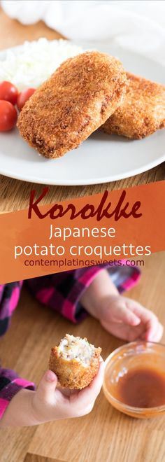 Korokke is the Japanese take on the French croquette, and is a very popular dish in Japan. Mashed potato and ground beef patties are coated in panko and deep fried. Served with a delicious sauce, this comfort food cannot be beat! Croquettes Recipe, Potato Croquettes, Beef Recipes, Asian Recipes, Cooking Recipes, Japanese Food Recipes, Potato Recipes, Tapas, Recipes