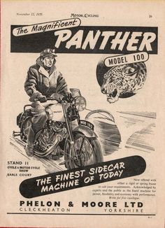 The PANTHER Model 100 MOTORCYCLE -- Phelon & Moore (1953 Advertisement) | eBay Motorcycle Posters, Motorcycle Design, Classic Motorcycle, Vintage Honda Motorcycles, Racing Motorcycles, Dc Comic Books, Comic Art, Batman Gotham Knight, Panther Car