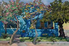 Carolyn Lord - Cool Blue Porch, 1983, California art, original California watercolor art for sale, fine art print for sale, giclee watercolor print - CaliforniaWatercolor.com