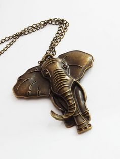 Large Elephant Necklace Brass Elephant Pendant Necklaces Animal Big Elephant Jewelry African Necklaces Statement Cute by TheBlackerTheBerry