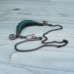 Silk Road Copper Necklace in Teal  Rustic Bohemian Silk