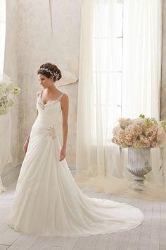 Chapel Train Chiffon A Line Wedding Dress