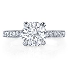 SABRINA is a custom, traditionally handcrafted Jean Dousset Diamonds signature diamond engagement ring design - JeanDousset.com - shown with a Round Brilliant cut diamond.